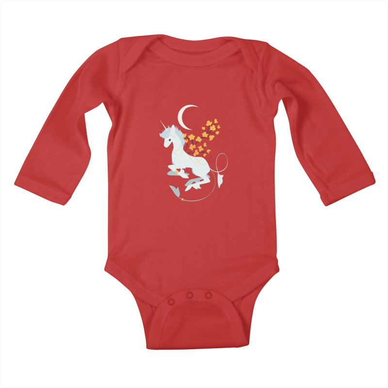Unicorn Moon Kids Baby Longsleeve Bodysuit by StrangelyKatie's Store