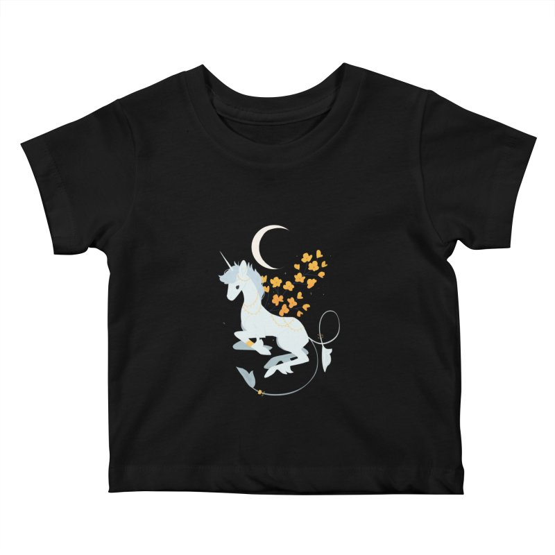 Unicorn Moon Kids Baby T-Shirt by StrangelyKatie's Store