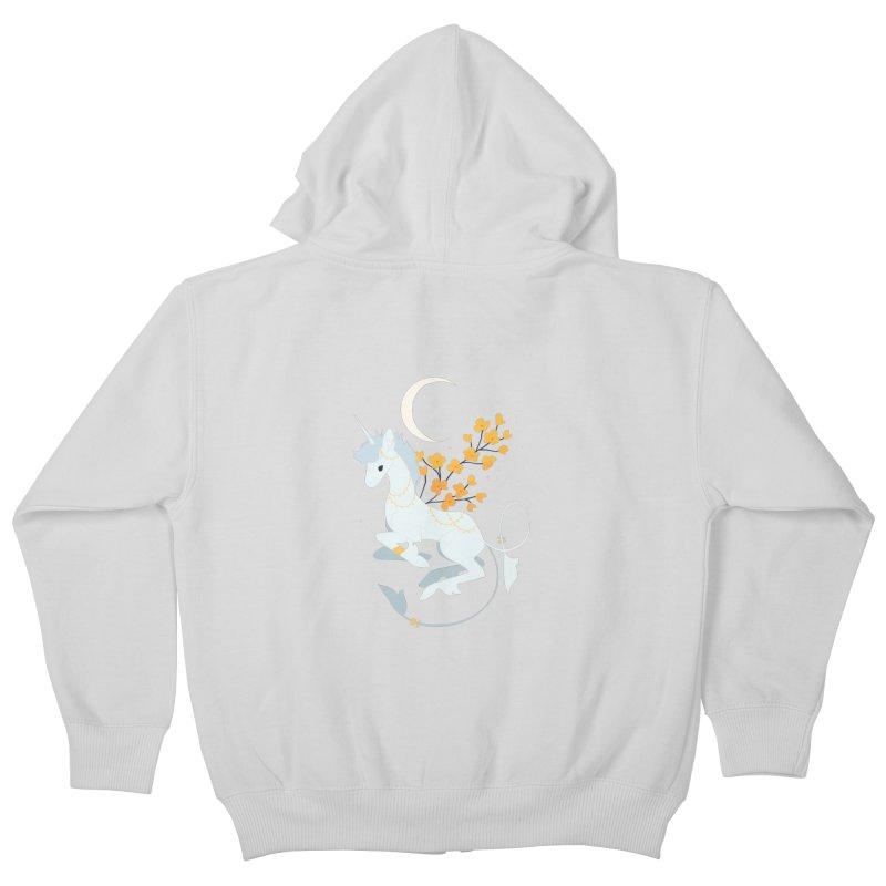Unicorn Moon Kids Zip-Up Hoody by StrangelyKatie's Store
