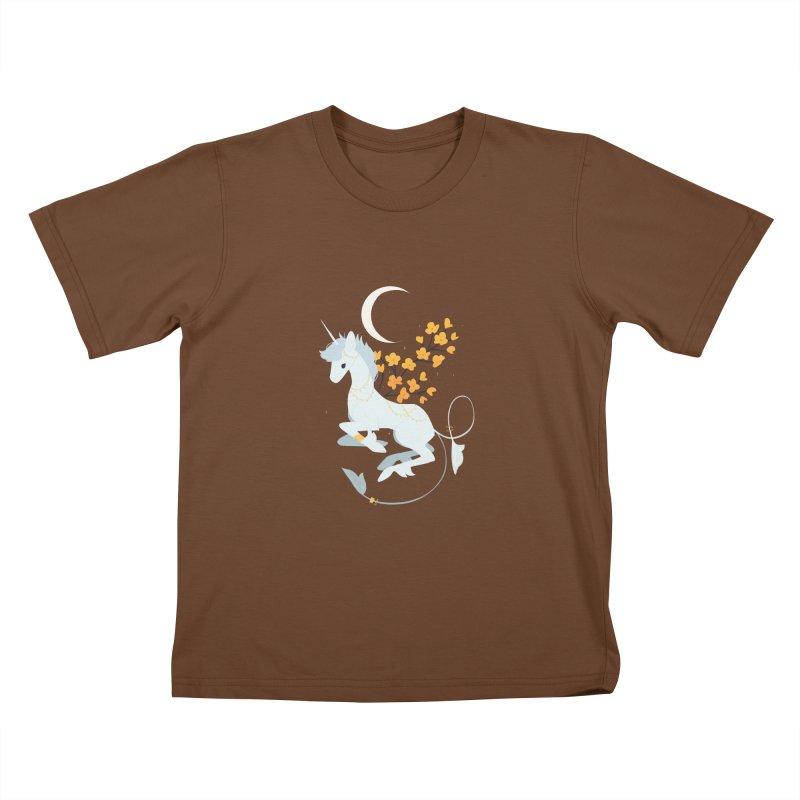 Unicorn Moon Kids T-Shirt by StrangelyKatie's Store