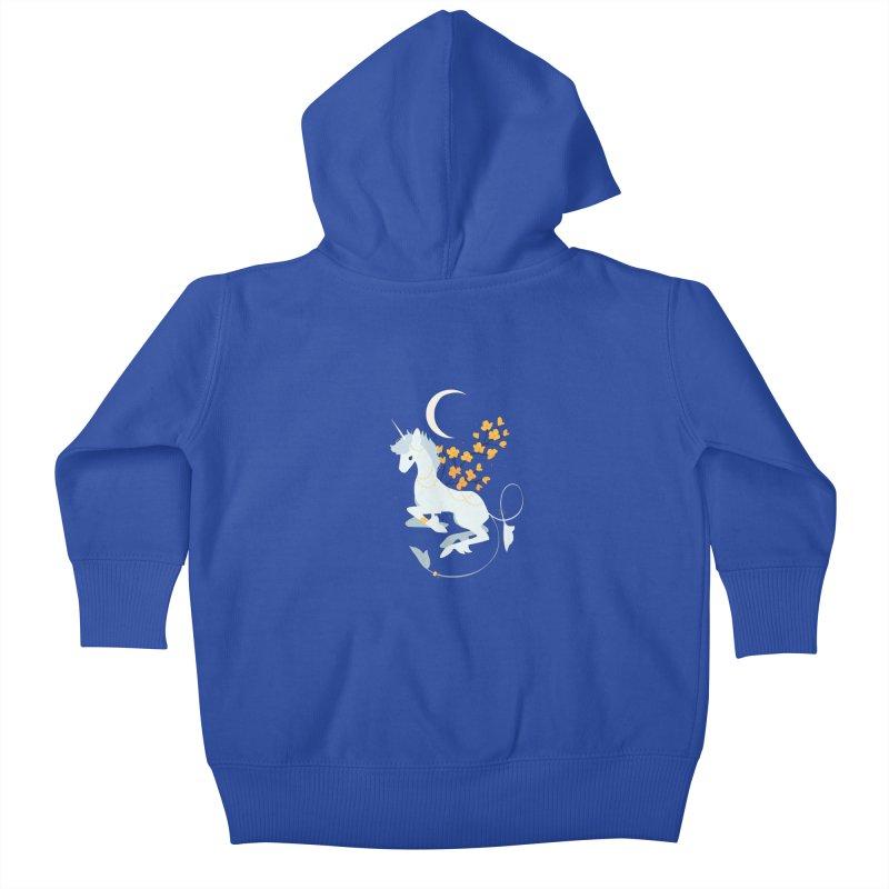 Unicorn Moon Kids Baby Zip-Up Hoody by StrangelyKatie's Store