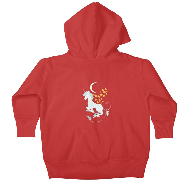 Unicorn Moon Kids Baby Zip-Up Hoody by StrangelyKatie's Store