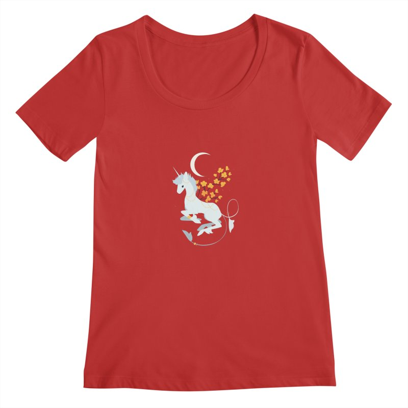 Unicorn Moon Women's Regular Scoop Neck by StrangelyKatie's Store