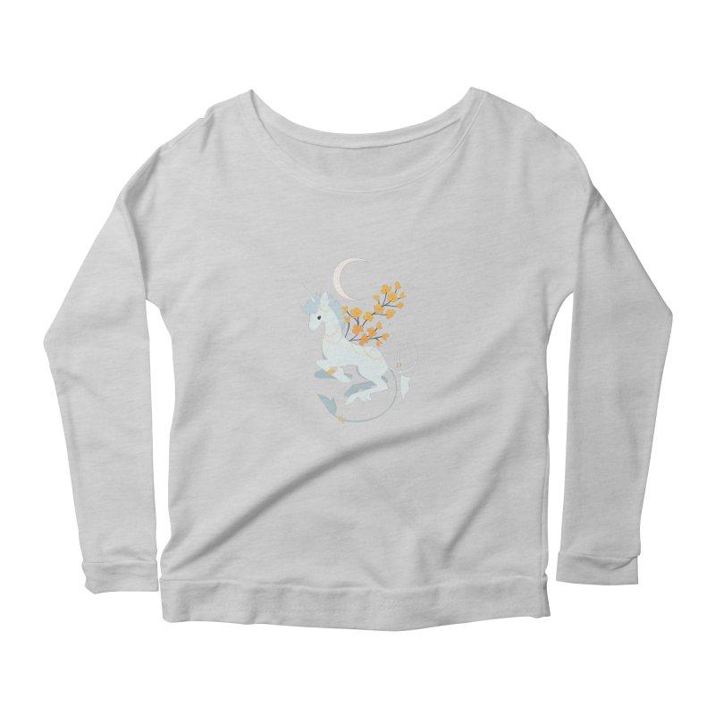 Unicorn Moon Women's Scoop Neck Longsleeve T-Shirt by StrangelyKatie's Store