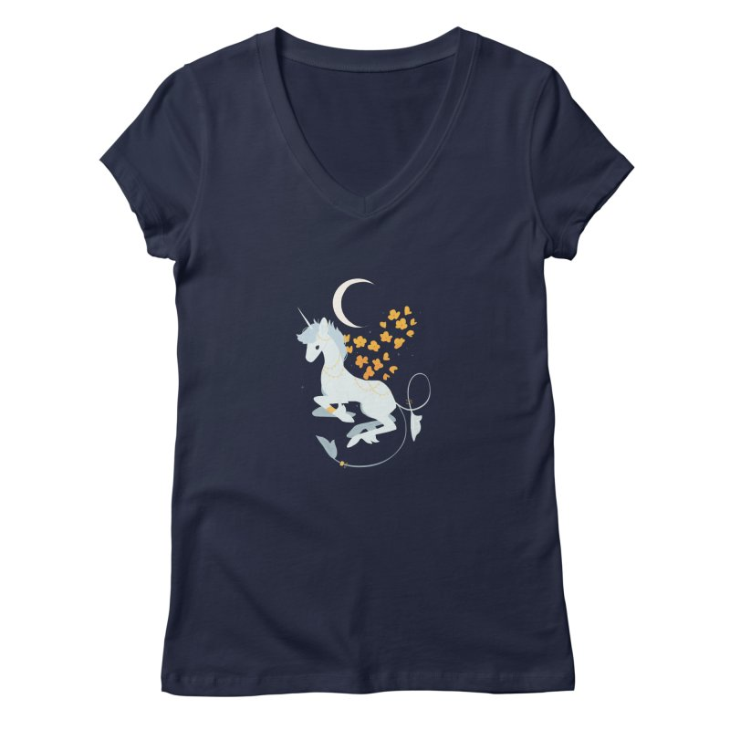 Unicorn Moon Women's V-Neck by StrangelyKatie's Store