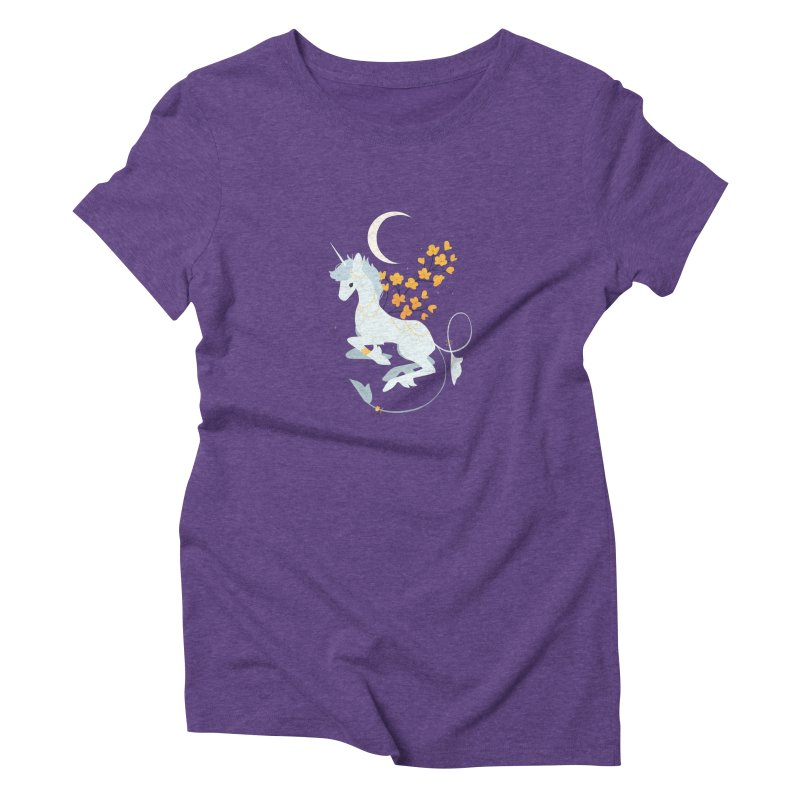 Unicorn Moon Women's T-Shirt by StrangelyKatie's Store