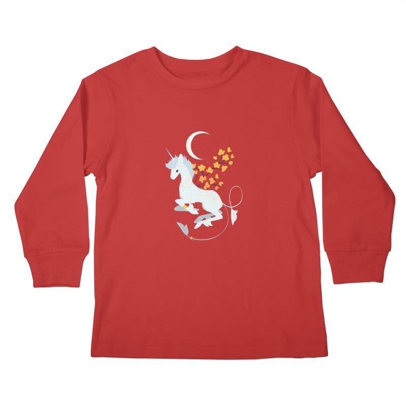 Unicorn Moon Kids Longsleeve T-Shirt by StrangelyKatie's Store