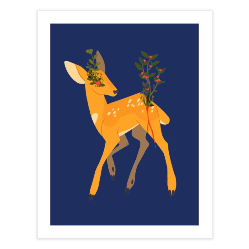 Golden Deer Home Fine Art Print by StrangelyKatie's Store