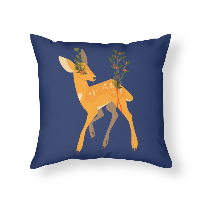 Golden Deer Home Throw Pillow by StrangelyKatie's Store