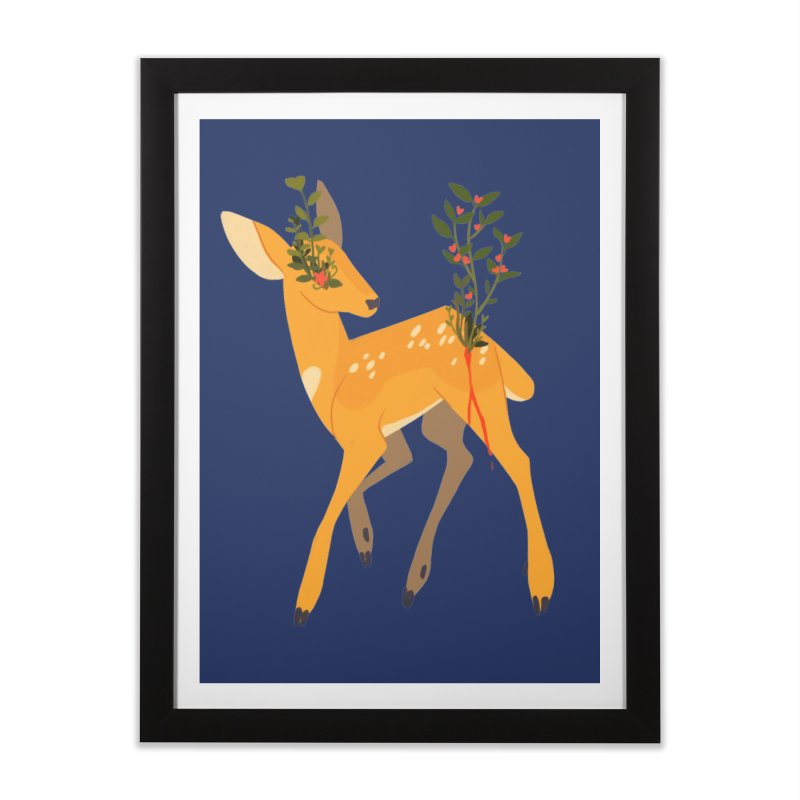 Golden Deer Home Framed Fine Art Print by StrangelyKatie's Store