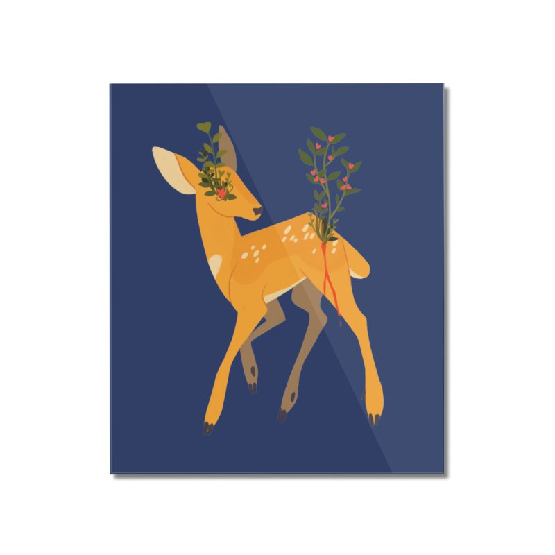 Golden Deer Home Mounted Acrylic Print by StrangelyKatie's Store