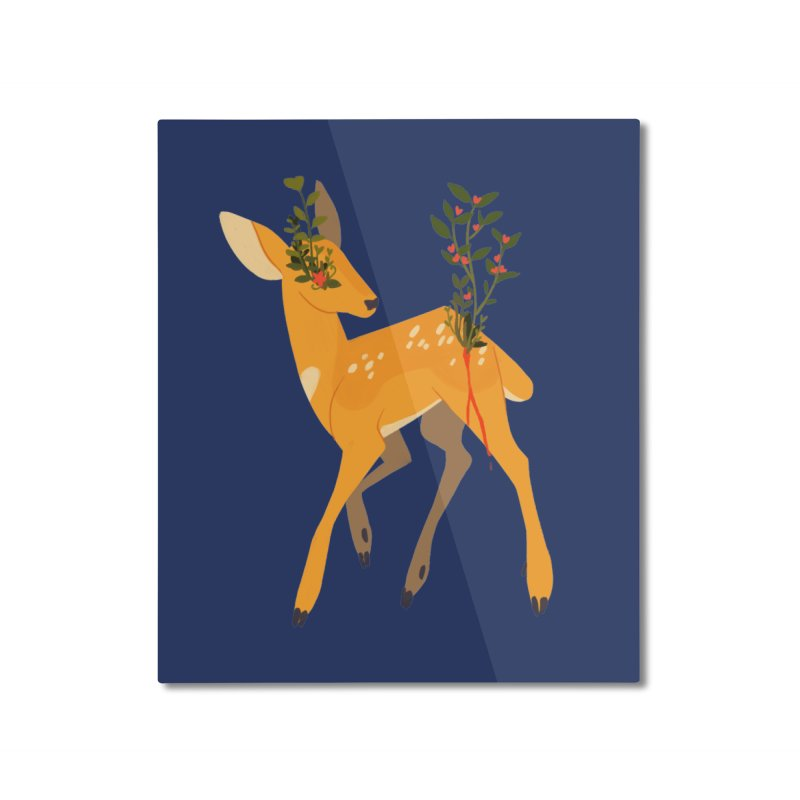 Golden Deer Home Mounted Aluminum Print by StrangelyKatie's Store