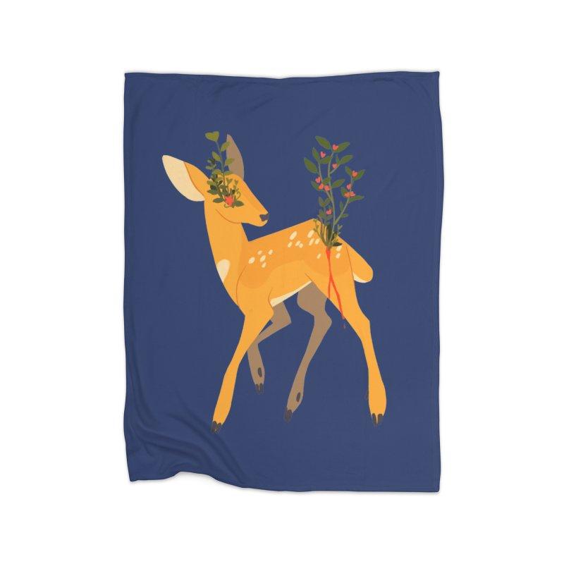 Golden Deer Home Blanket by StrangelyKatie's Store