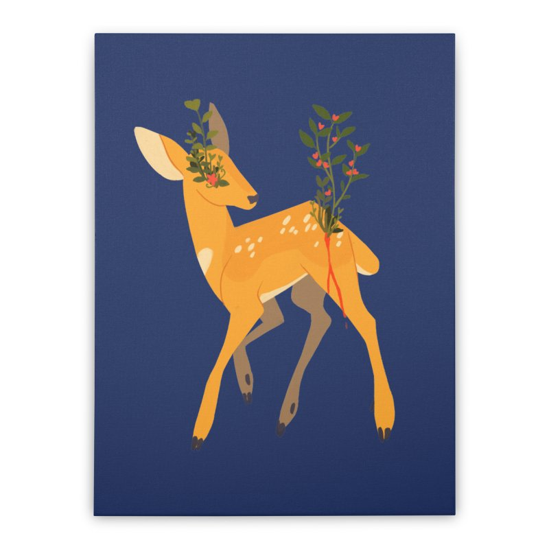 Golden Deer Home Stretched Canvas by StrangelyKatie's Store