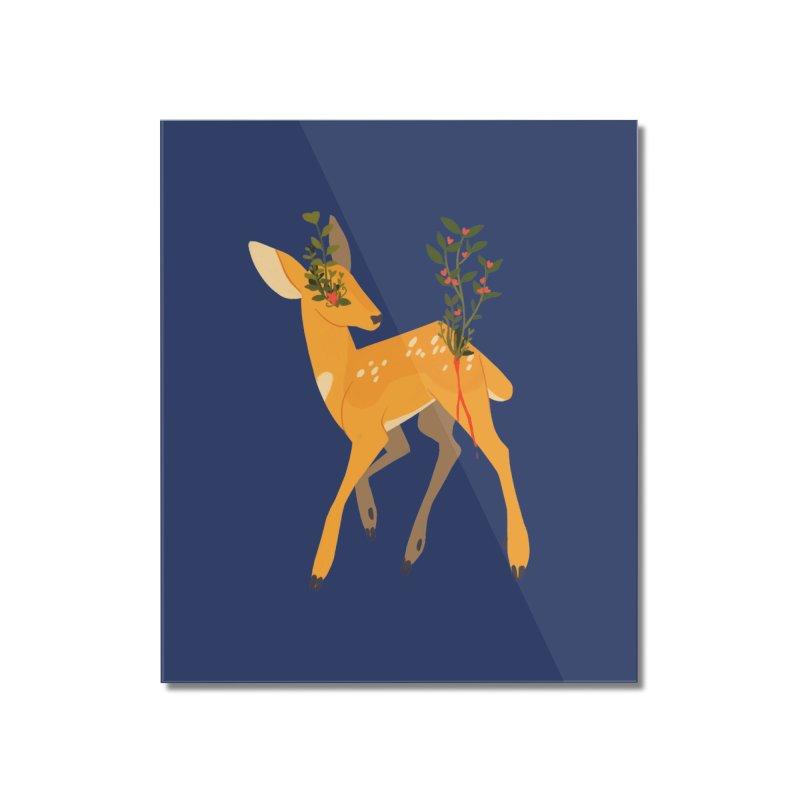 Golden Deer Home Mounted Acrylic Print by StrangelyKatie's Store