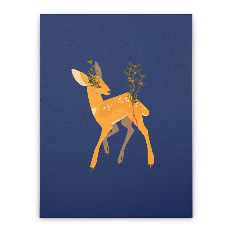 Golden Deer Home Stretched Canvas by StrangelyKatie's Store