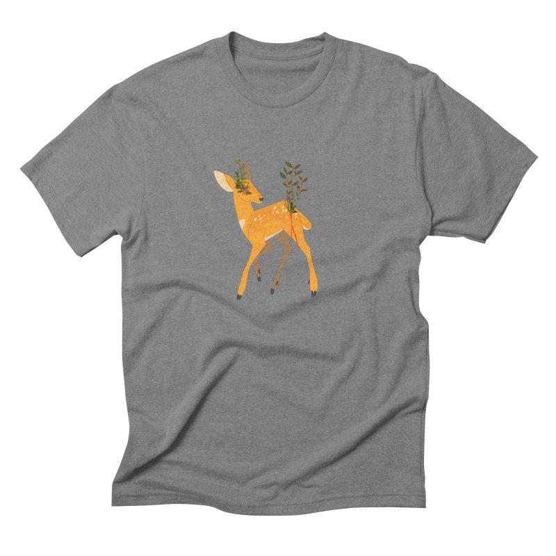 Golden Deer Men's Triblend T-Shirt by StrangelyKatie's Store