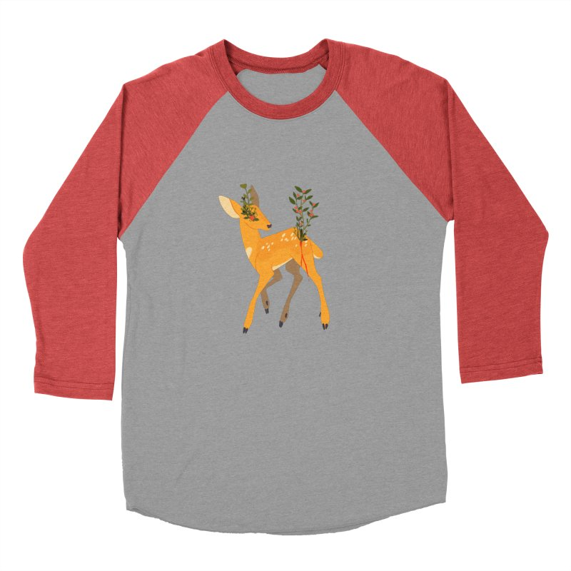 Golden Deer Women's Baseball Triblend Longsleeve T-Shirt by StrangelyKatie's Store