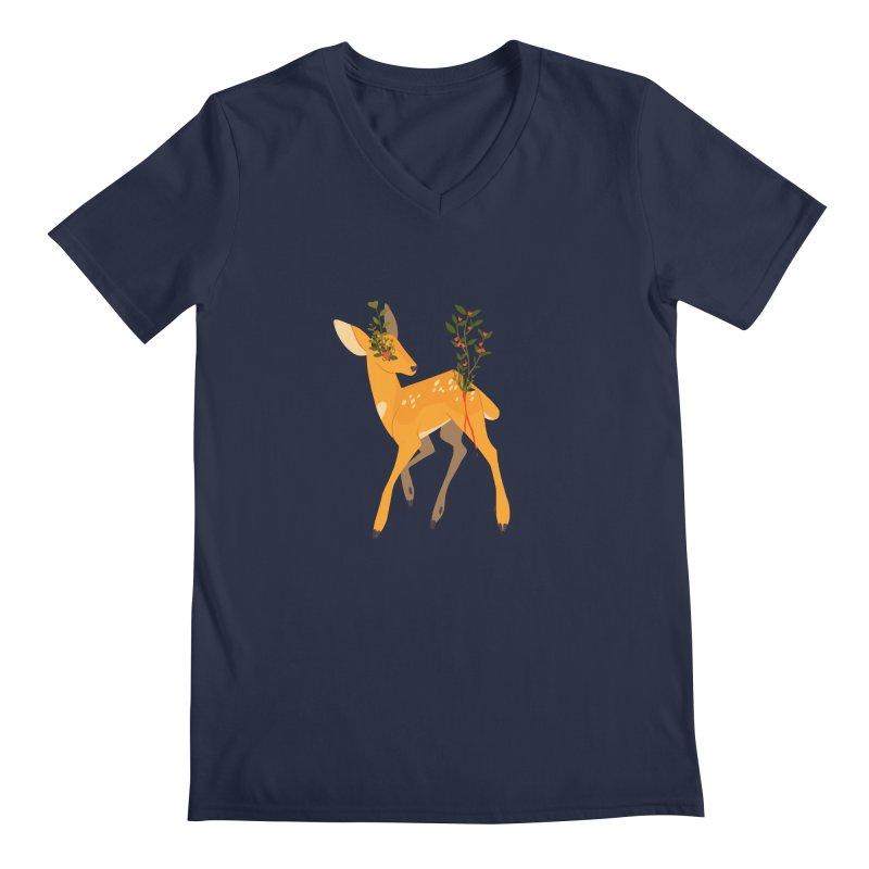 Golden Deer Men's Regular V-Neck by StrangelyKatie's Store