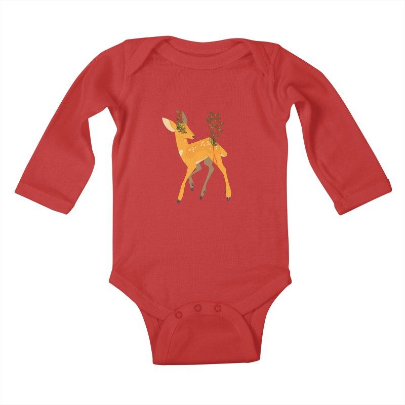 Golden Deer Kids Baby Longsleeve Bodysuit by StrangelyKatie's Store