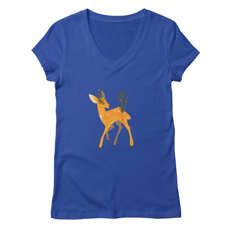 Golden Deer Women's V-Neck by StrangelyKatie's Store