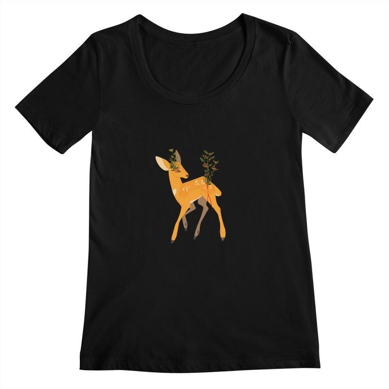 Golden Deer Women's Scoopneck by StrangelyKatie's Store