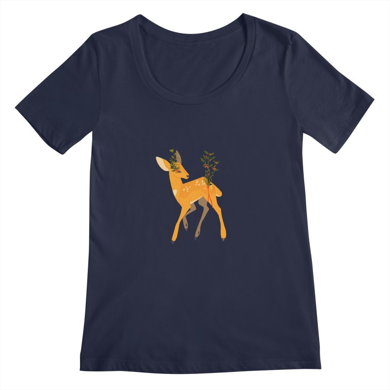 Golden Deer Women's Regular Scoop Neck by StrangelyKatie's Store
