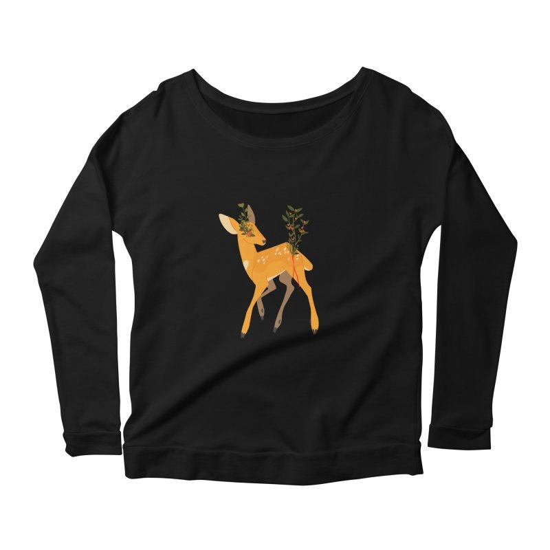 Golden Deer Women's Longsleeve Scoopneck  by StrangelyKatie's Store