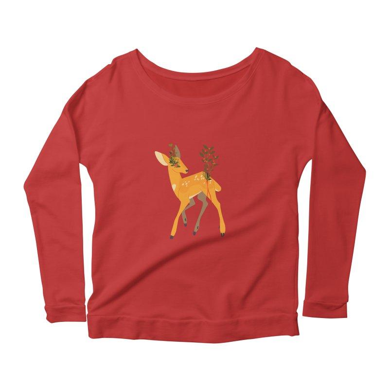 Golden Deer Women's Scoop Neck Longsleeve T-Shirt by StrangelyKatie's Store