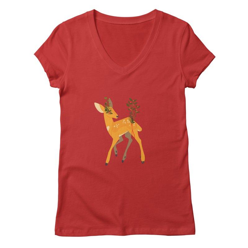 Golden Deer Women's Regular V-Neck by StrangelyKatie's Store