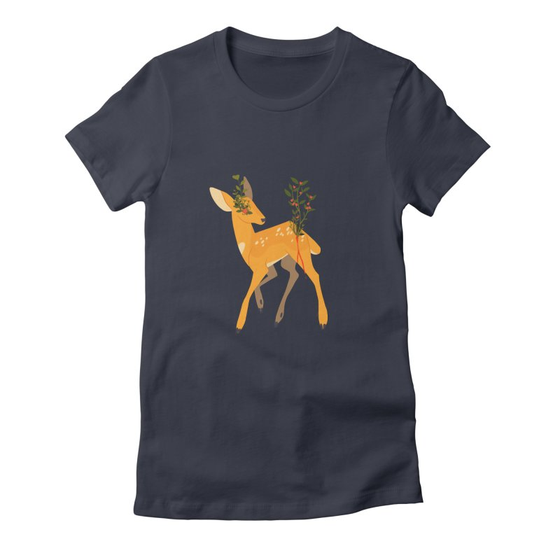 Golden Deer Women's Fitted T-Shirt by StrangelyKatie's Store
