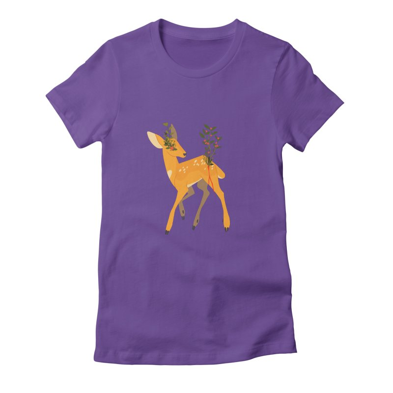 Golden Deer Women's Fitted T-Shirt by StrangelyKatie's Store
