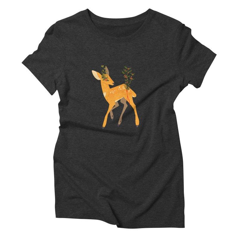 Golden Deer Women's Triblend T-Shirt by StrangelyKatie's Store