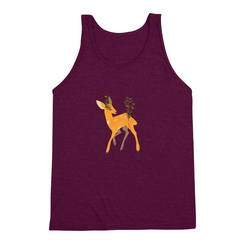 Golden Deer Men's Triblend Tank by StrangelyKatie's Store