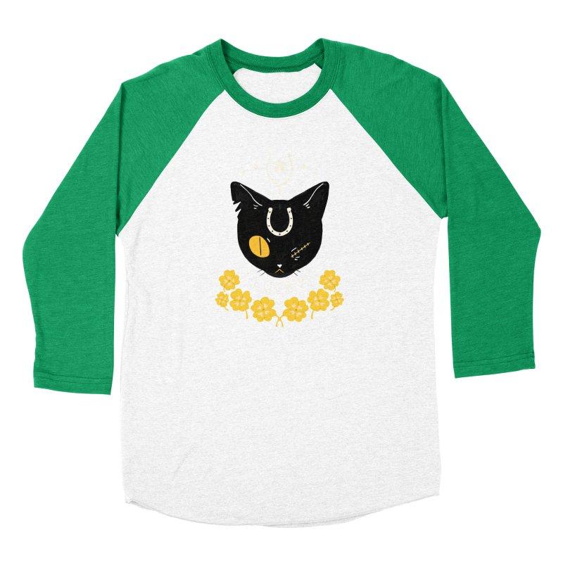 Lucky Cat Women's Baseball Triblend Longsleeve T-Shirt by StrangelyKatie's Store