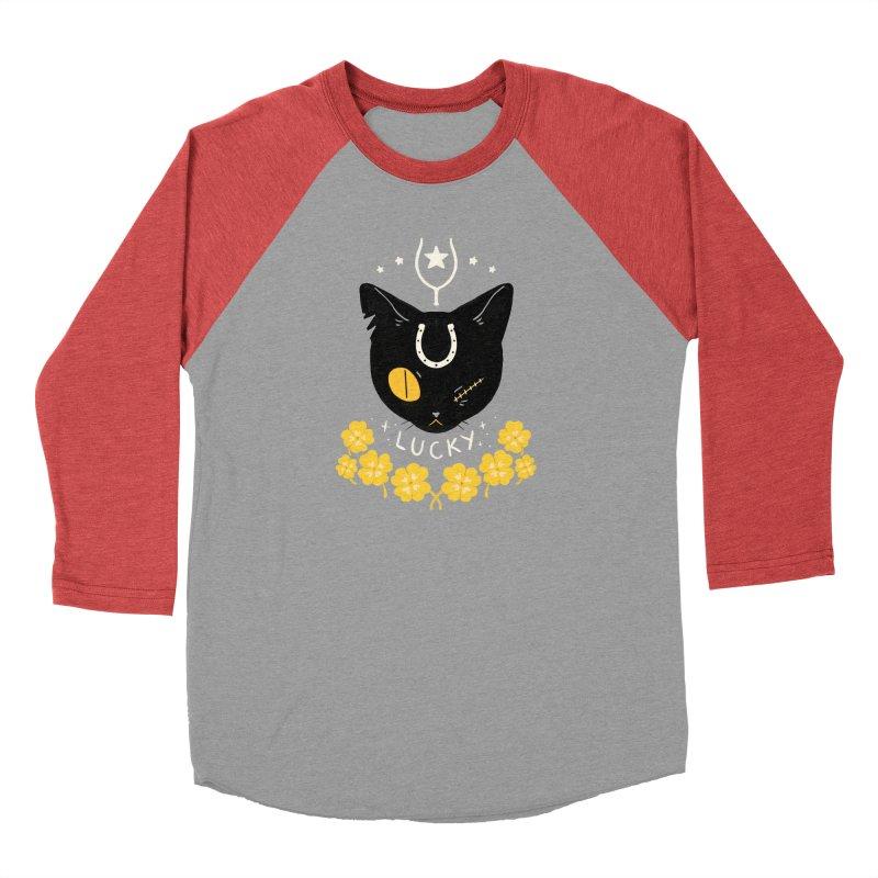 Lucky Cat Men's Baseball Triblend Longsleeve T-Shirt by StrangelyKatie's Store