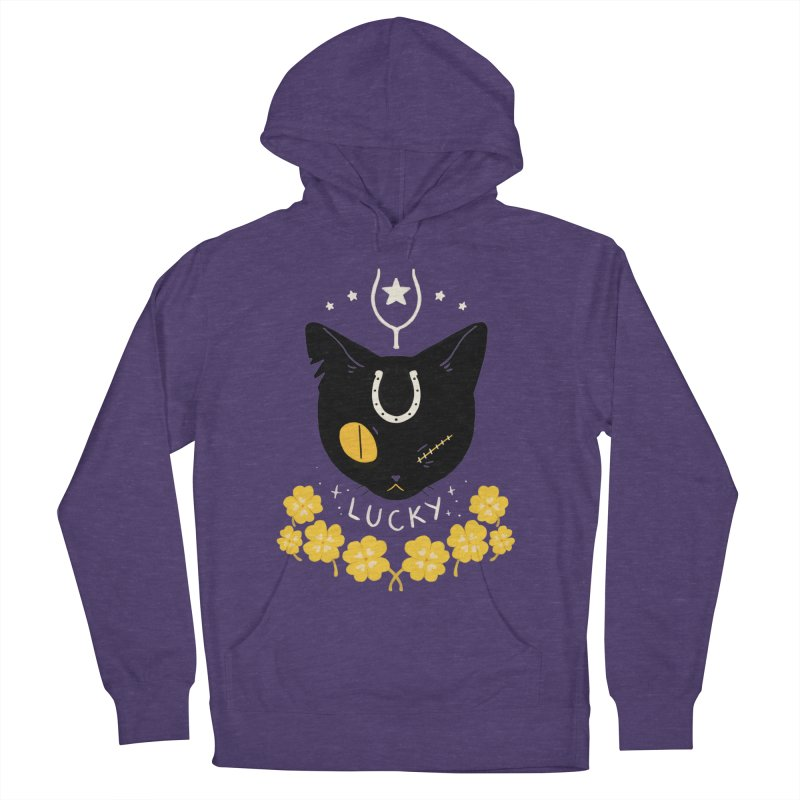 Lucky Cat Men's French Terry Pullover Hoody by StrangelyKatie's Store