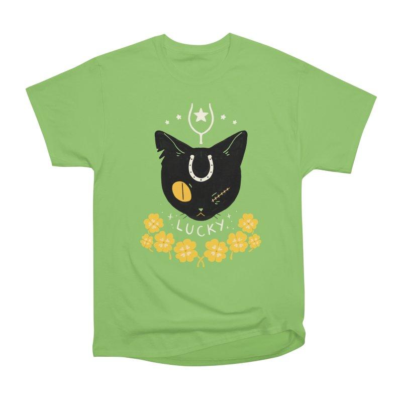 Lucky Cat Men's Heavyweight T-Shirt by StrangelyKatie's Store