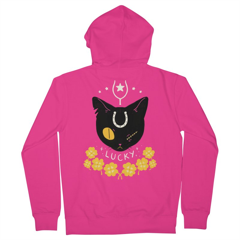 Lucky Cat Men's Zip-Up Hoody by StrangelyKatie's Store