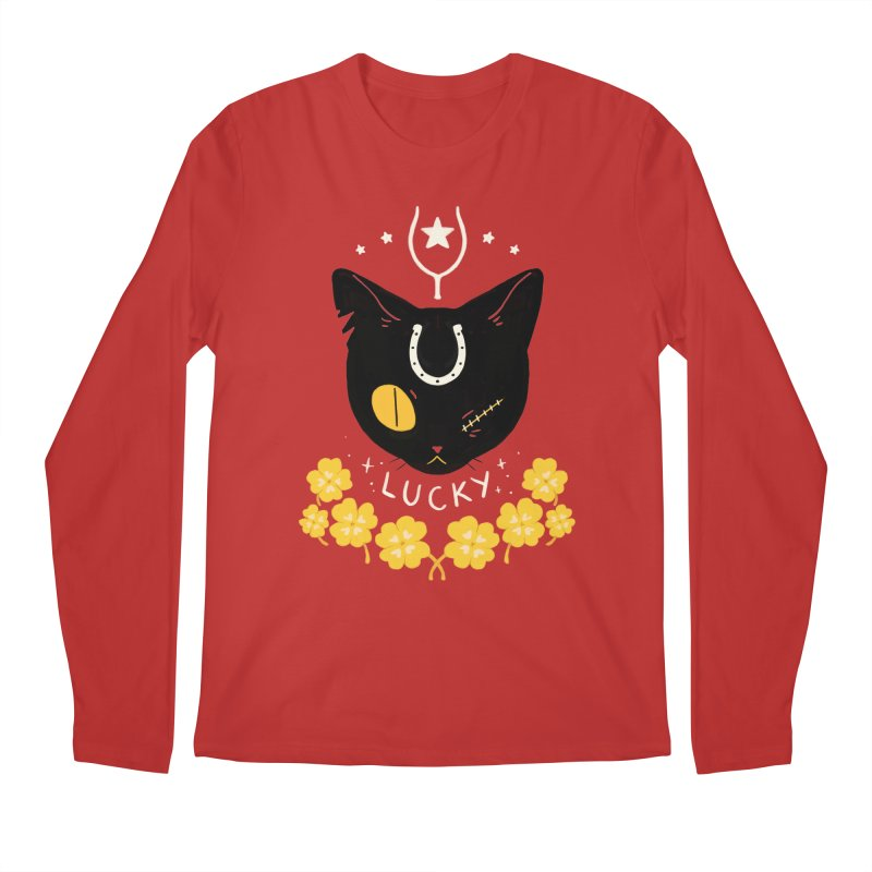 Lucky Cat Men's Regular Longsleeve T-Shirt by StrangelyKatie's Store