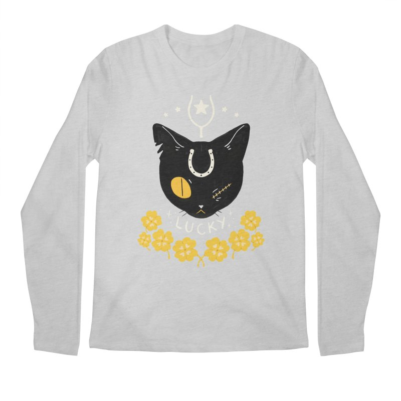 Lucky Cat Men's Regular Longsleeve T-Shirt by StrangelyKatie's Store