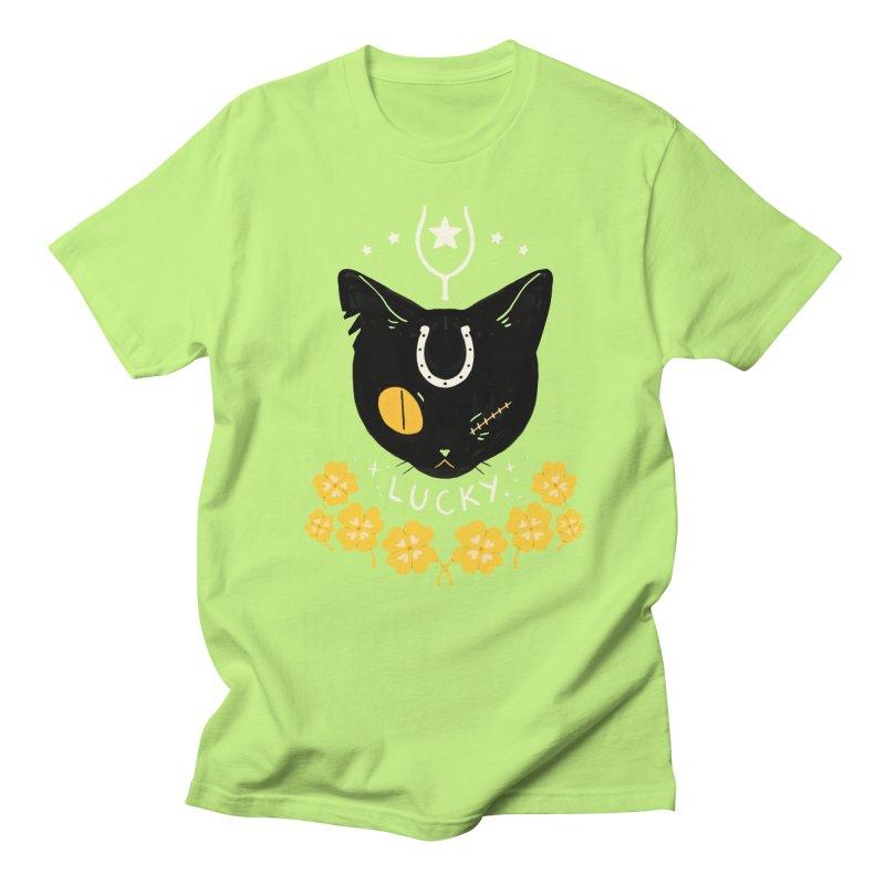Lucky Cat Men's Regular T-Shirt by StrangelyKatie's Store