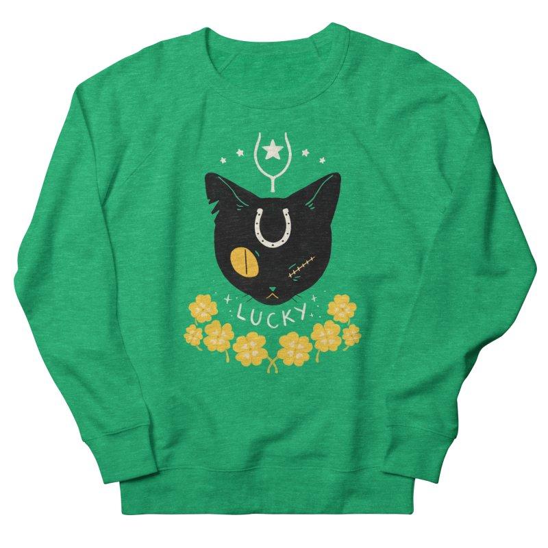 Lucky Cat Men's French Terry Sweatshirt by StrangelyKatie's Store