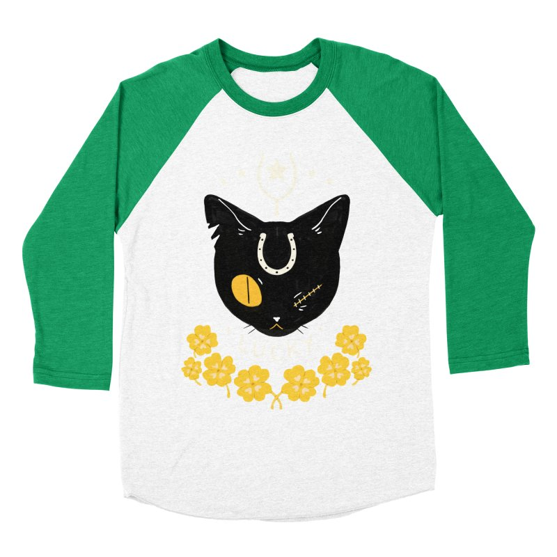Lucky Cat Women's Baseball Triblend Longsleeve T-Shirt by StrangelyKatie's Store