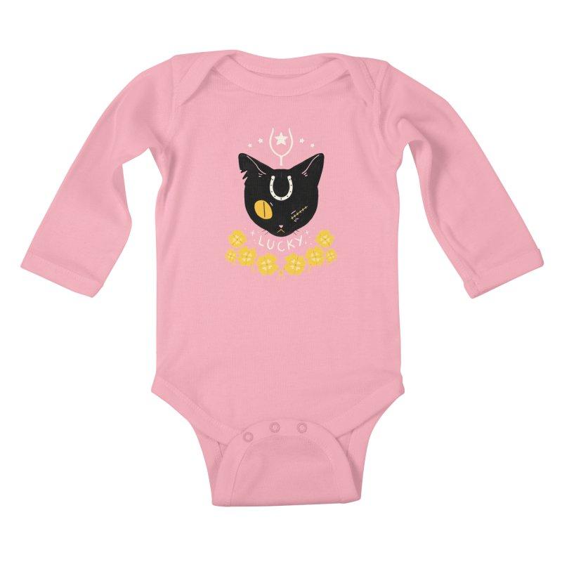 Lucky Cat Kids Baby Longsleeve Bodysuit by StrangelyKatie's Store