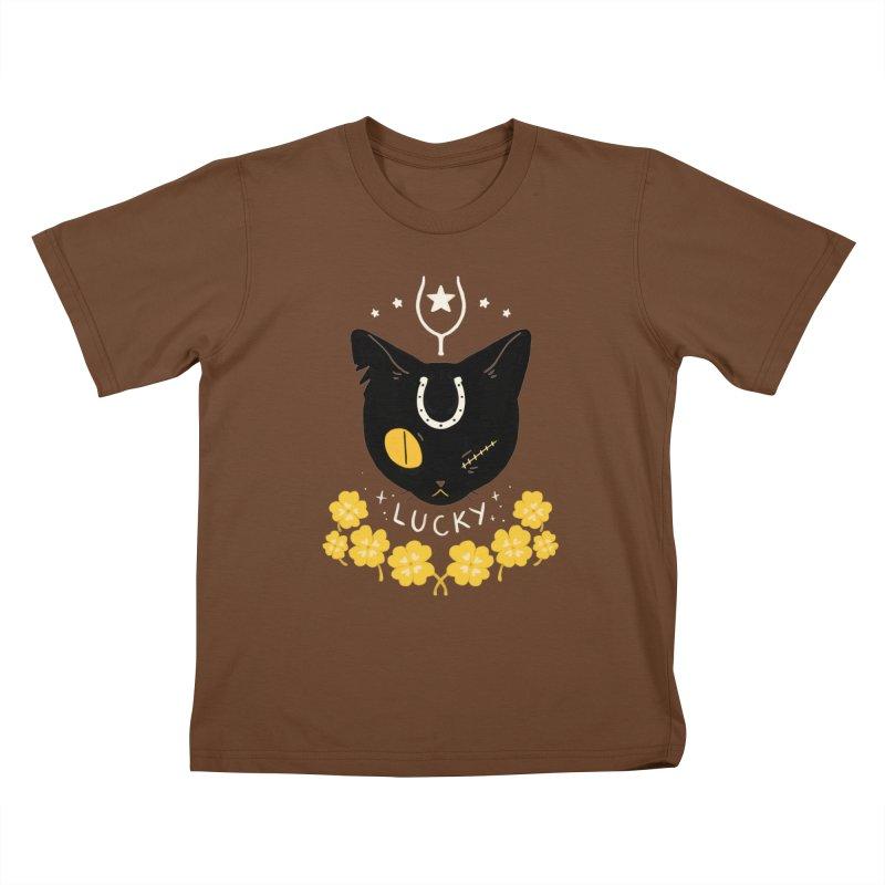 Lucky Cat Kids T-Shirt by StrangelyKatie's Store