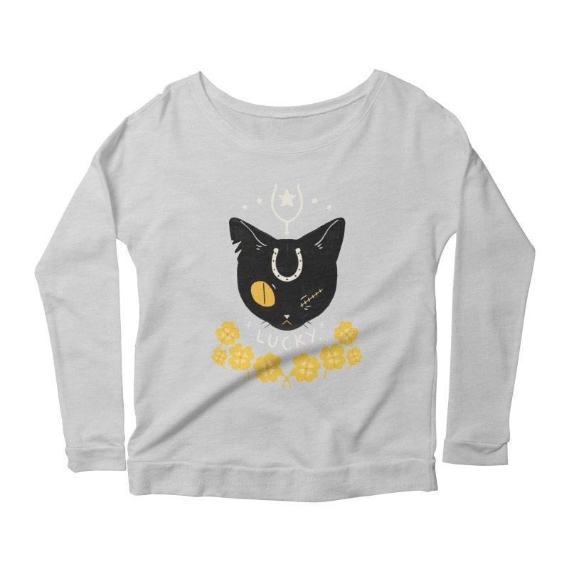 Lucky Cat Women's Scoop Neck Longsleeve T-Shirt by StrangelyKatie's Store