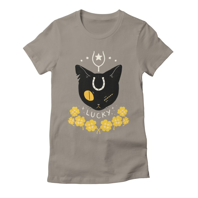 Lucky Cat Women's Fitted T-Shirt by StrangelyKatie's Store