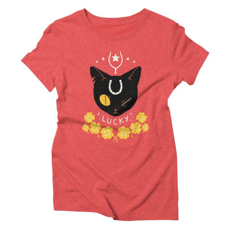 Lucky Cat Women's Triblend T-Shirt by StrangelyKatie's Store