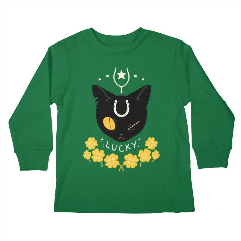 Lucky Cat Kids Longsleeve T-Shirt by StrangelyKatie's Store